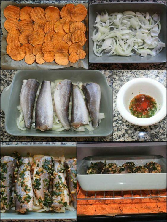 Pescadillas de Merluza al Horno con Chips de Boniato (elaboración)