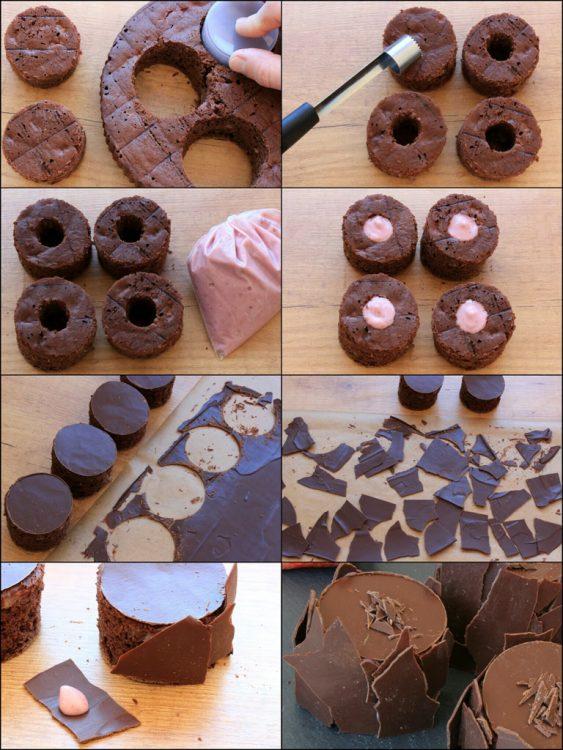 Pastelitos Fit de Chocolate y Fresa (elaboración)