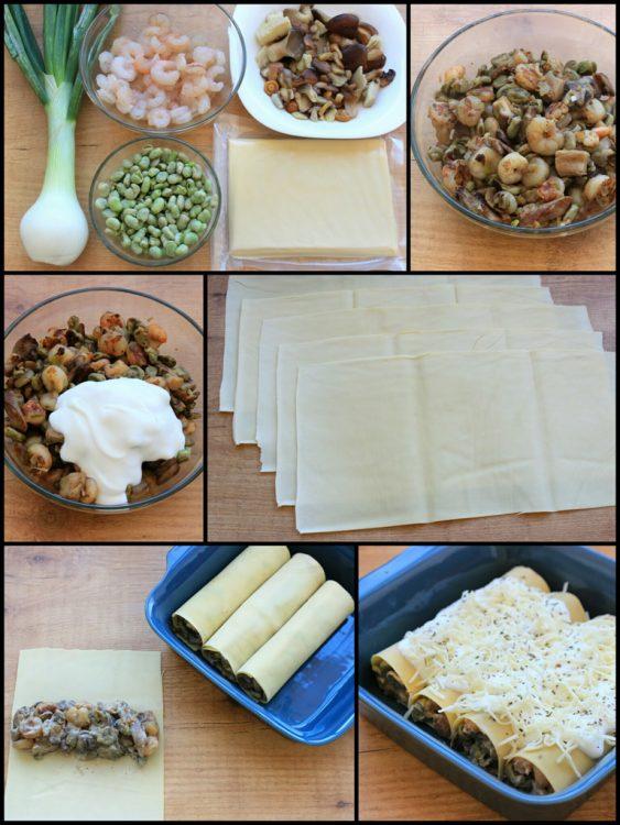 Canelones Fit de Setas y Gambas (sin pasta) (preparación)