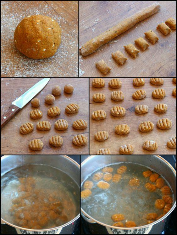 Ñoquis Integrales de Batata y Queso (sin huevo) (dar forma y cocinado)