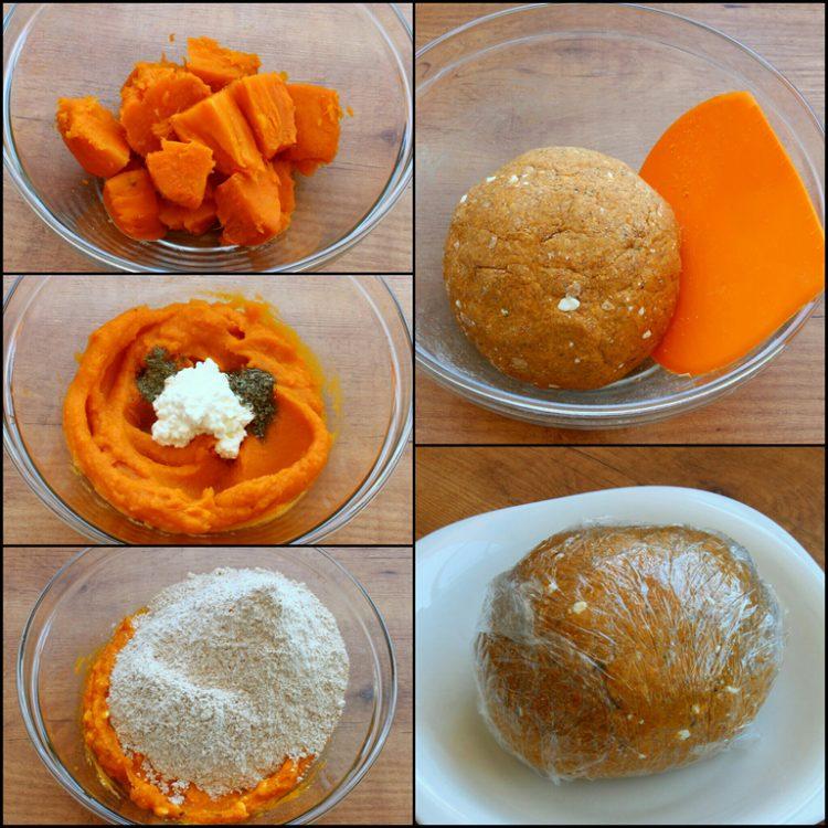 Ñoquis Integrales de Batata y Queso (sin huevo) (preparación de la masa)