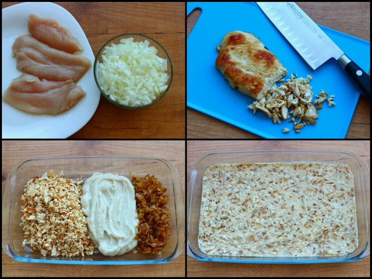 Croquetas Fit de Pollo (al horno) (preparación del relleno)