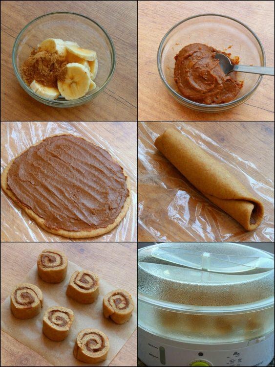 Rollos de Canela Fit al Vapor (Cinnamon Rolls) (preparación del relleno y montaje)