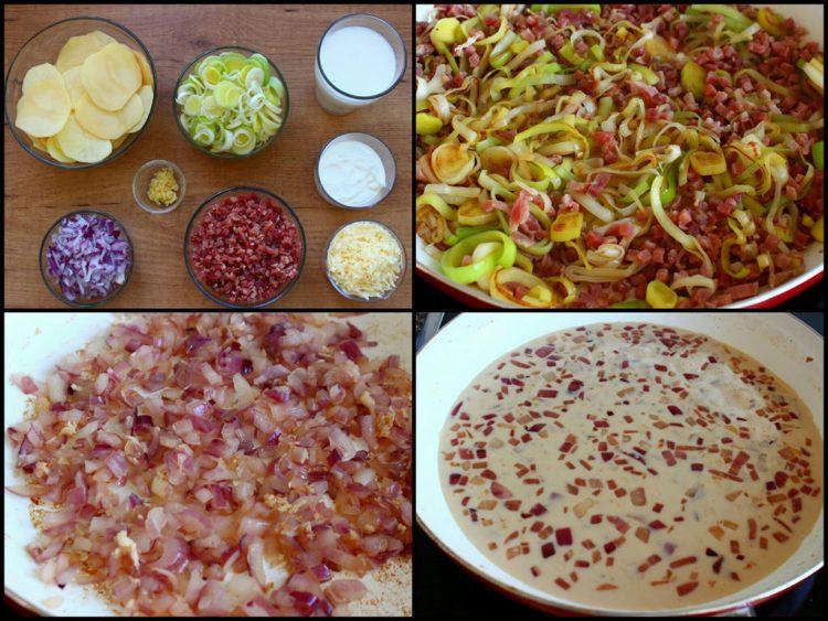 Patatas Gratinadas al Horno Fit con Jamón y Queso (preparación de ingredientes)