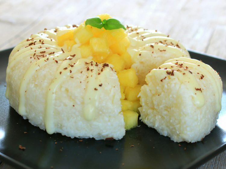 Pastel de Tapioca Fit Fácil (sin horno, sin harina y sin azúcar) (detalle del corte)