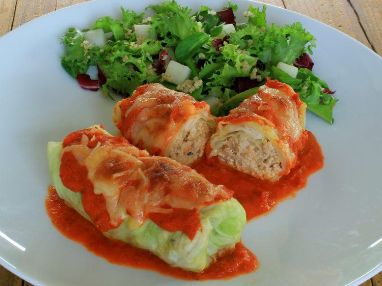 Rollitos de Col Rellenos Fit (hojas de repollo con carne y quinoa)