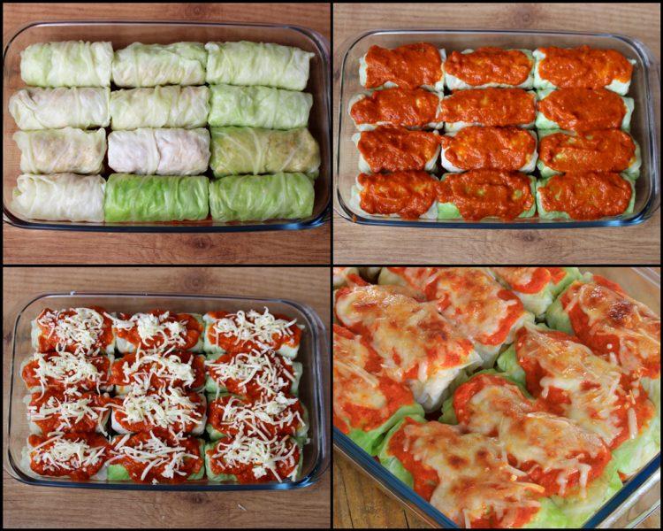 Rollitos de Col Rellenos Fit (hojas de repollo con carne y quinoa) (montaje y horneado)