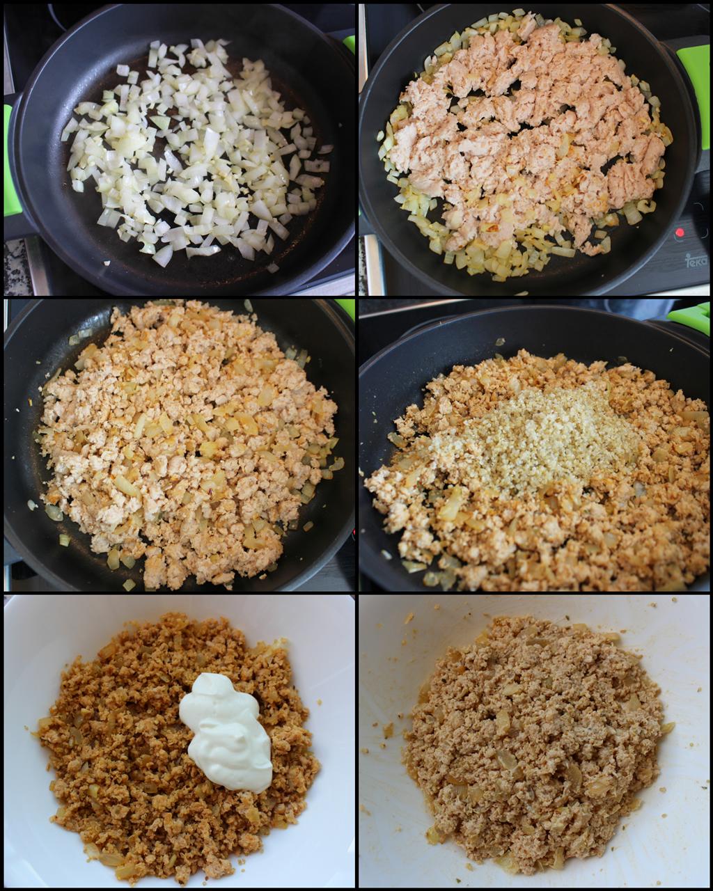 Rollitos de Col Rellenos Fit (hojas de repollo con carne y quinoa) (preparación del relleno)