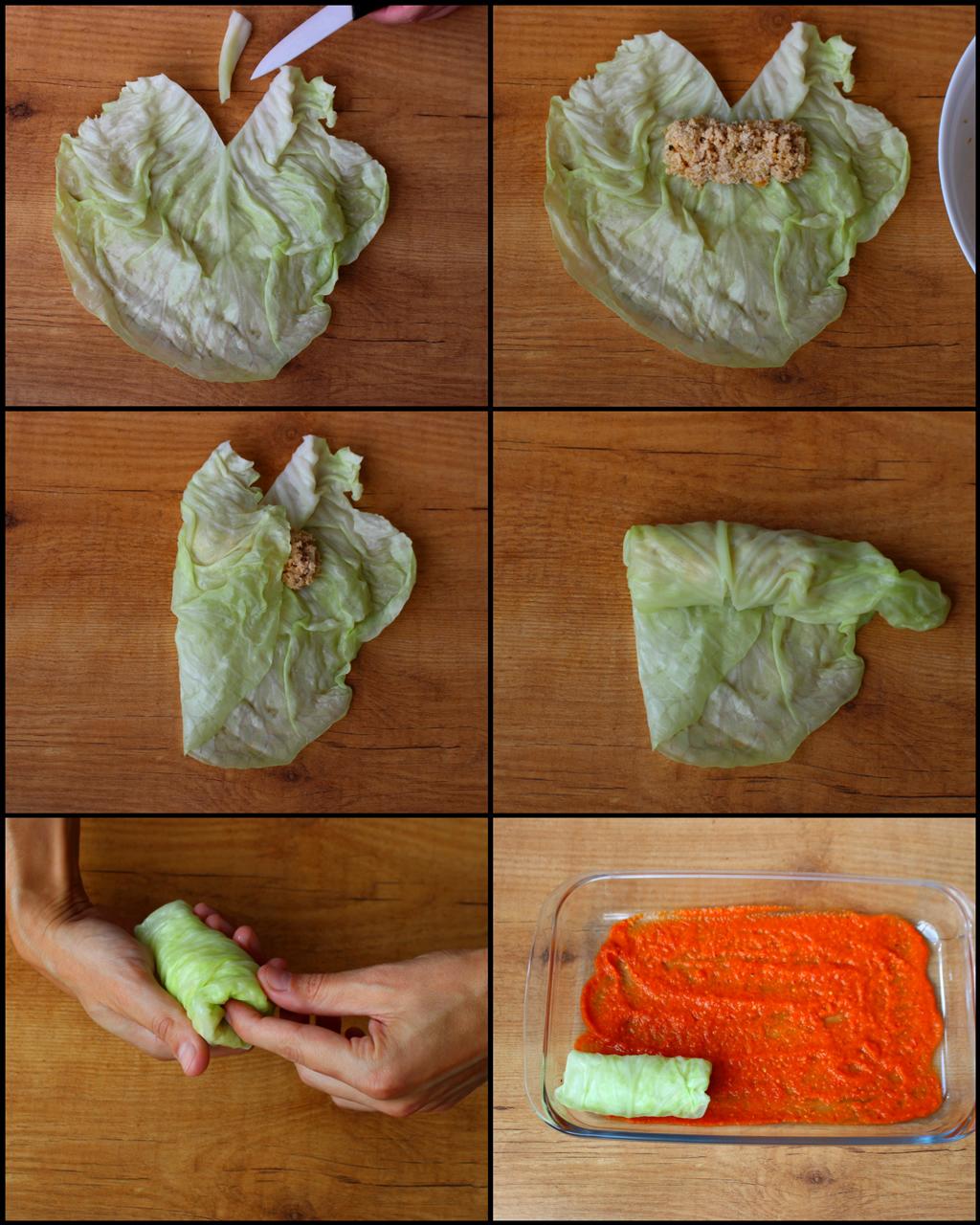 Rollitos de Col Rellenos Fit (hojas de repollo con carne y quinoa) (rellenado y enrollado de las hojas)