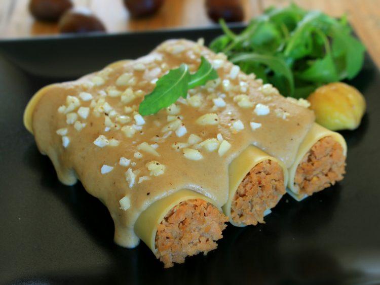 Canelones de Carne con Salsa de Castañas Fit